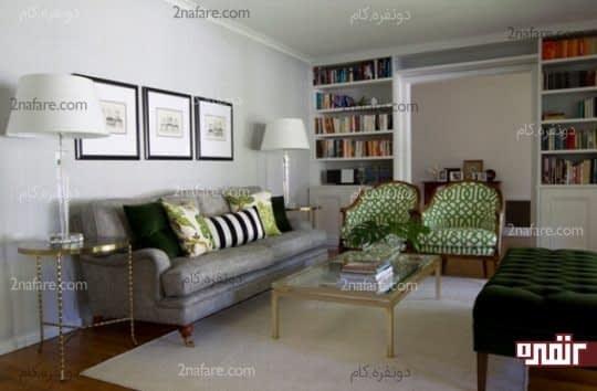 ترکیب پارچه های مختلف با هم برای داشتن ترکیبی زیبا از خاکستری و سبز در کنار هم