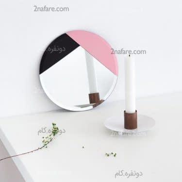 تزیین و طراحی روی آینه با اشکال هندسی و رنگهای مشکی و صورتی