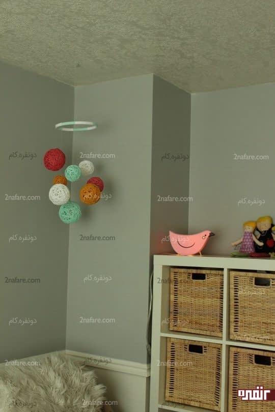 توپک های آویز کاموایی برای تزیین اتاق بچه ها