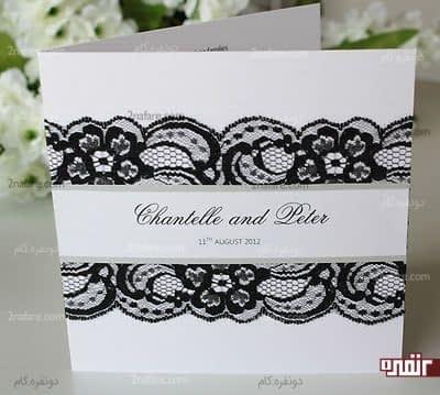 جذابیت بیشتر کارت عروسی با ترکیب سفید و مشکی