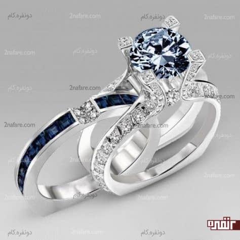 حلقه و انگشتر شیک و جذاب با نگین آبی