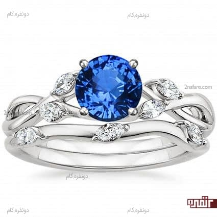 حلقه و انگشتر نامزدی با نگین آبی