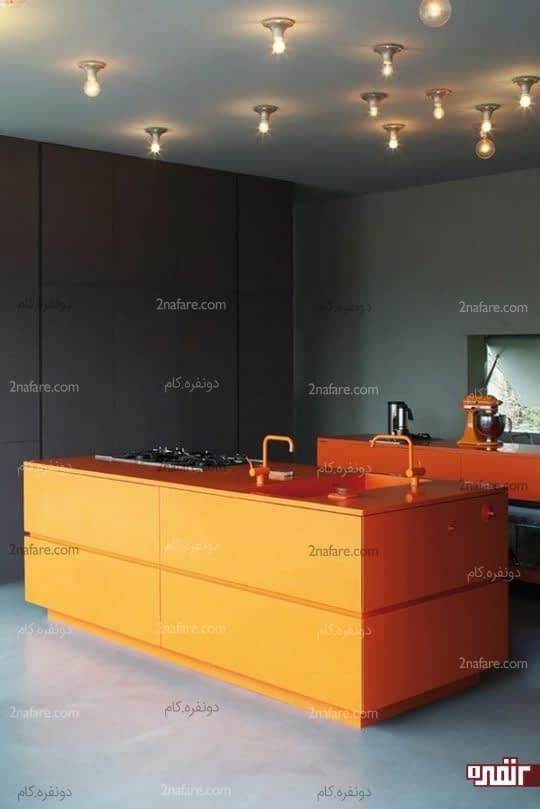 خاکستری و نارنجی در آشپزخانه