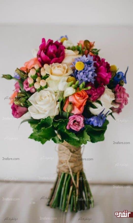 دسته گل تابستونه عروس با گل رز