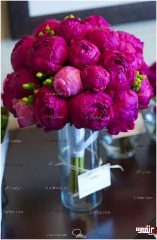 دسته گل زیبای عروس با گل صد تومنی(پئونی)