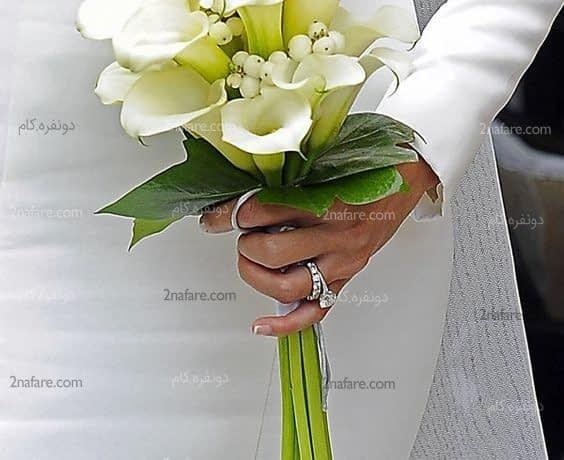 دسته گل زیبا و جذاب عروس با گل شیپوری