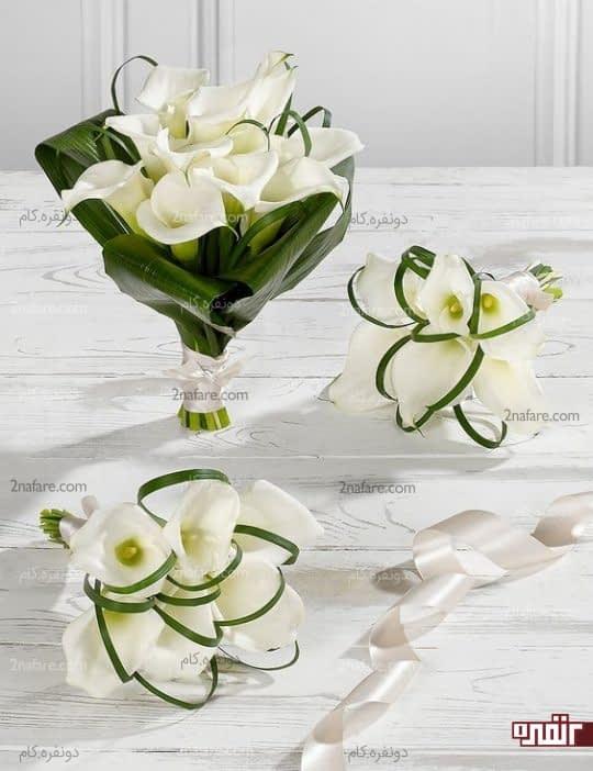 دسته گل شیپوری سفید و زیبا برای عروس و ساقدوش ها
