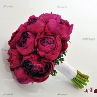 دسته گل عروس با پئونی خوش رنگ و خاص