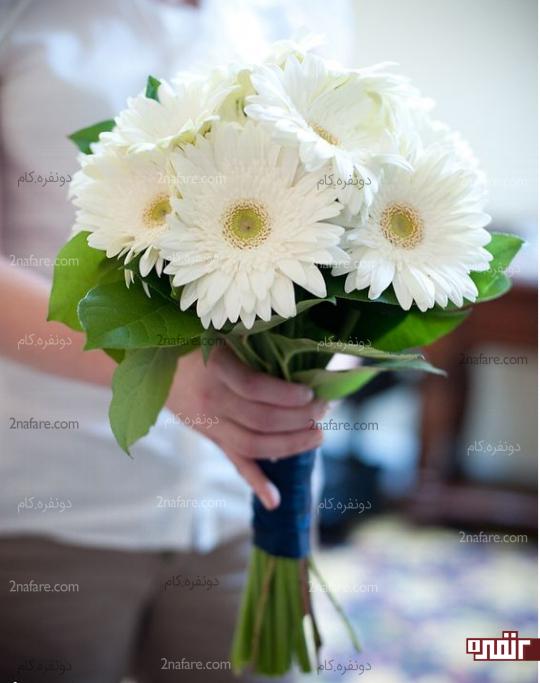 دسته گل عروس با ژربرا سفید