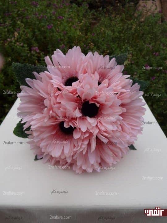 دسته گل عروس با ژربرا صورتی