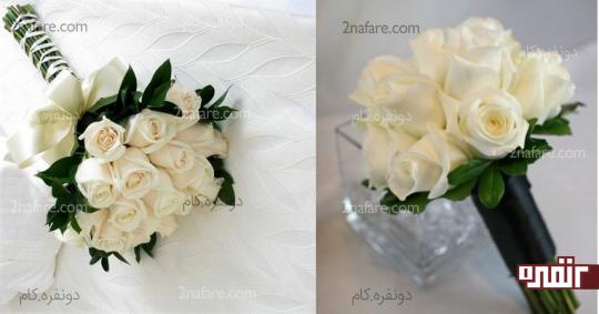 دسته گل عروس با گل رز سفید