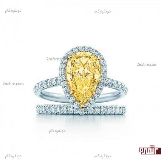 ست حلقه و انگشتر نامزدی با نگین زرد