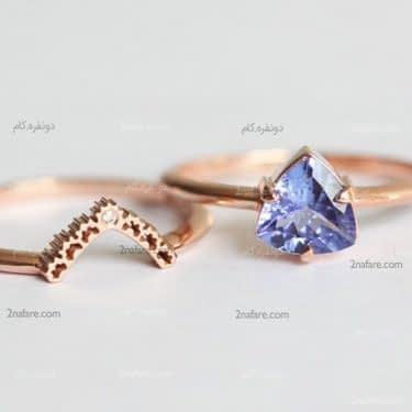ست زیبای حلقه و انگشتر نامزدی با نگین آبی