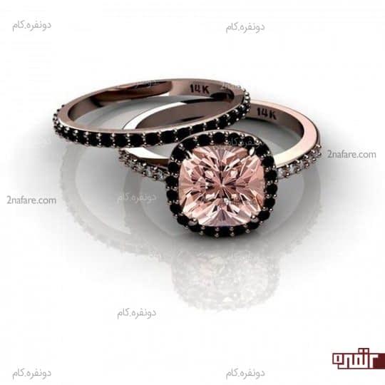 ست شیک و مدرن حلقه و انگشتر عروس با نگین صورتی و سیاه