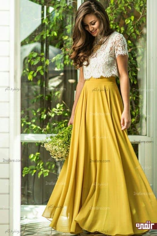 شیک ترین لباس های ست زرد و سفید • دونفره
