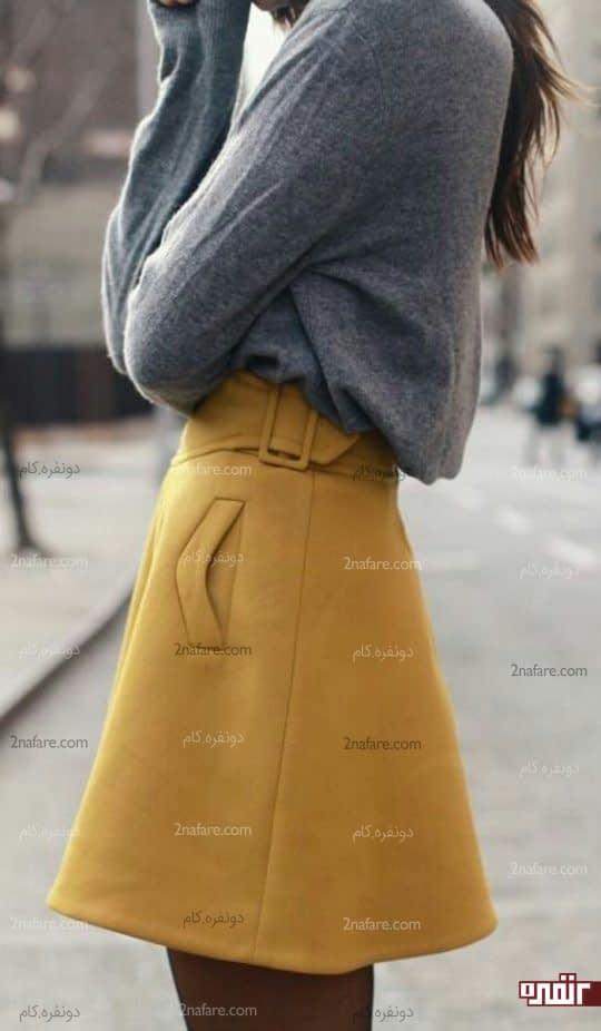 ست لباس زرد و طوسی