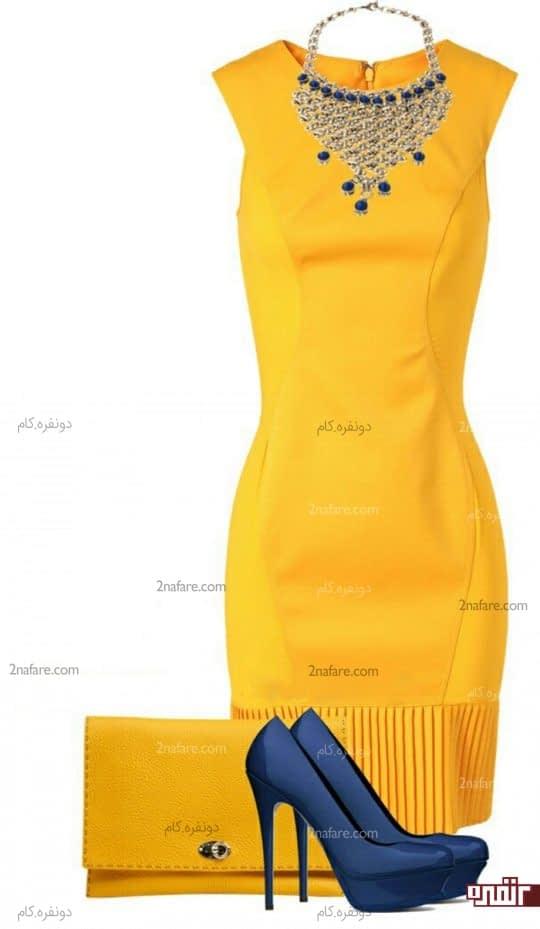 ست لباس زرد و کفش آبی
