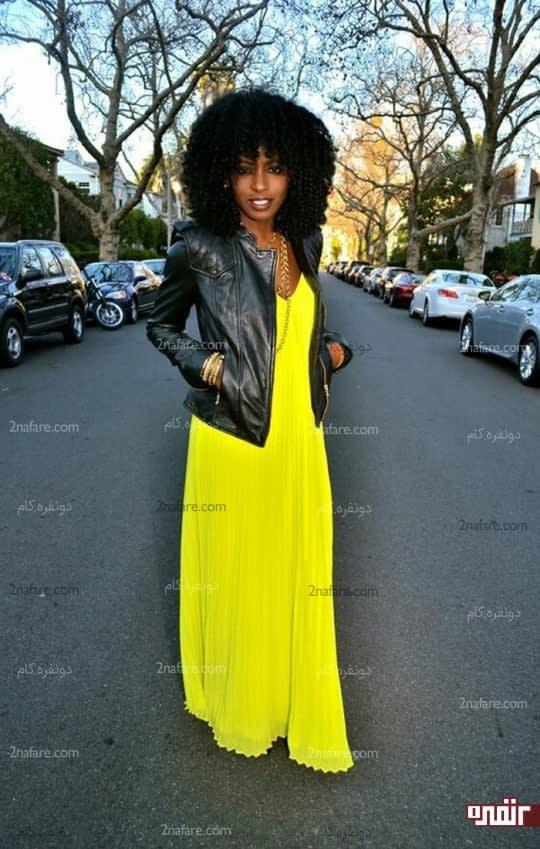 ست لباس مشکی و زرد