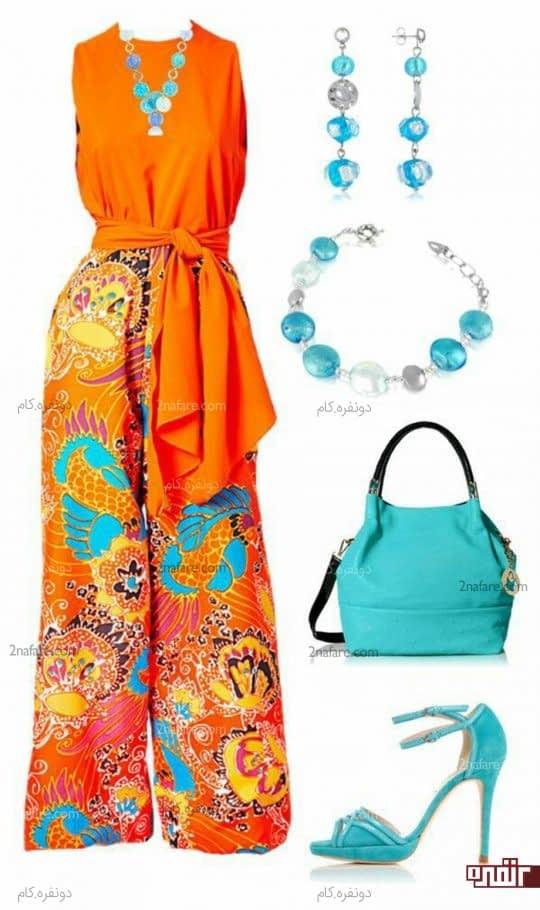 ست لباس نارنجی و کیف و کفش آبی روشن