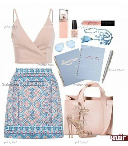 ست لباس گلبهی و آبی