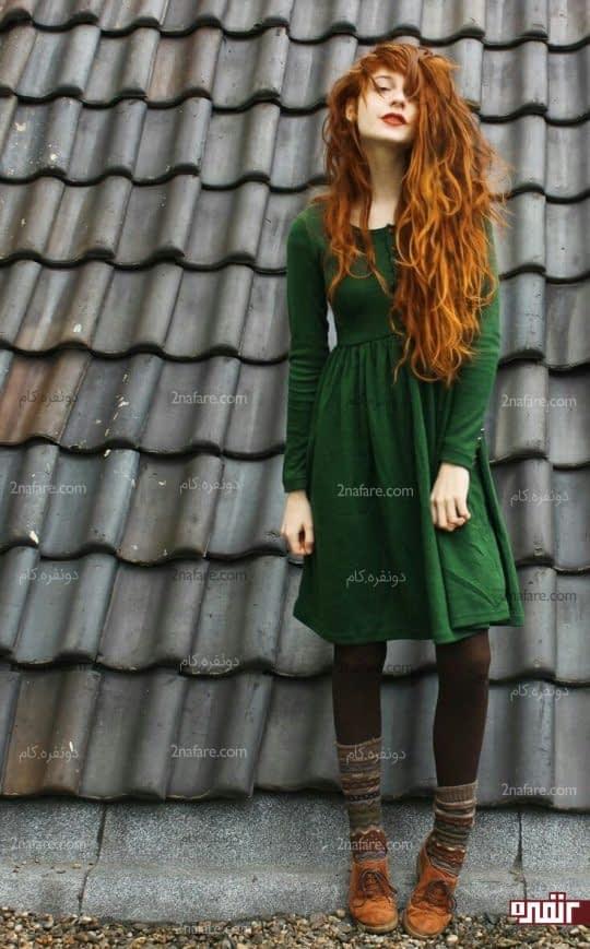 ست پیراهن سبز با کفش قهوه ای