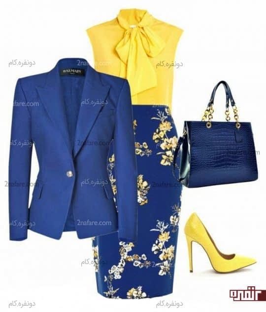 ست کت و دامن آبی و شومیز زرد