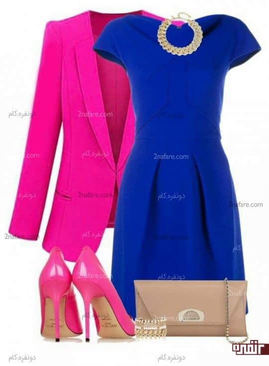 ست کت و کفش صورتی پر رنگ و پیراهن آبی