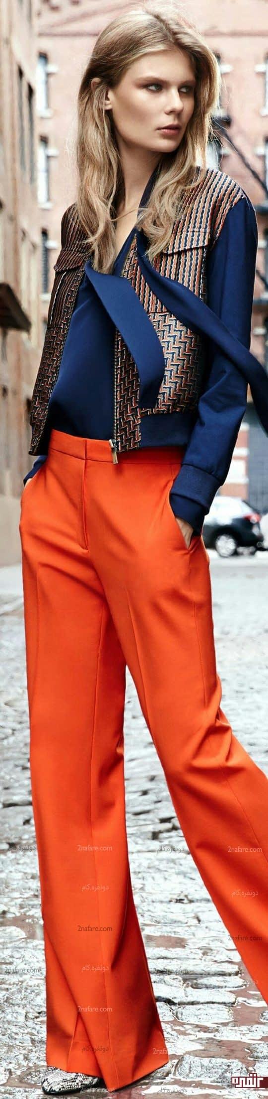شومیز آبی و شلوار نارنجی