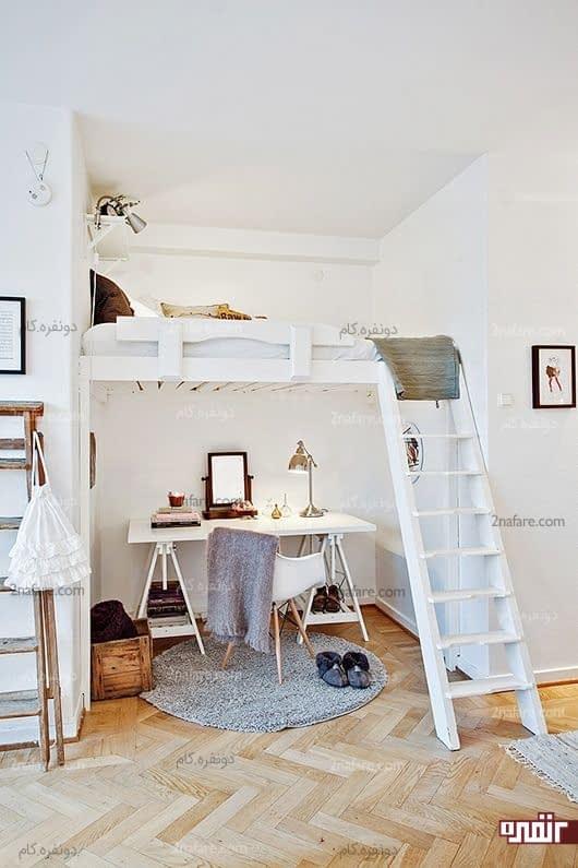صرفه جویی در فضا با قرار گیری میز مطالعه در زیر فضای خواب
