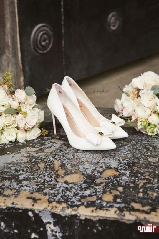 طرح شیک و ساده کفش پاشنه بلند عروس