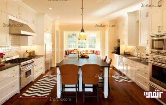فرش زیگزاگ مدرن برای یک آشپزخانه سنتی