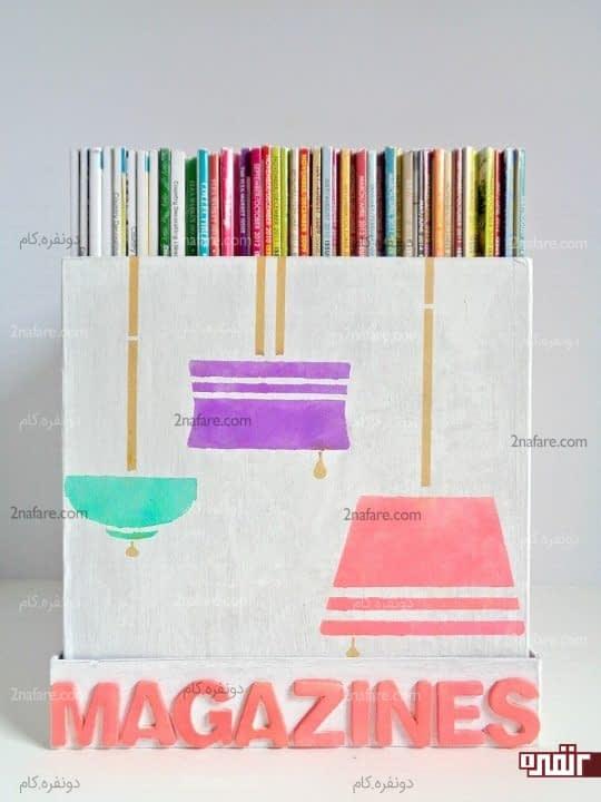 قفسه کتاب یاباکس مجلات با جعبه کارتنی