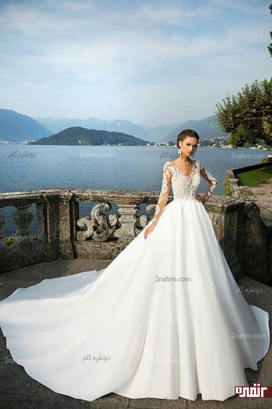 لباس عروس دامن پفی ساتن