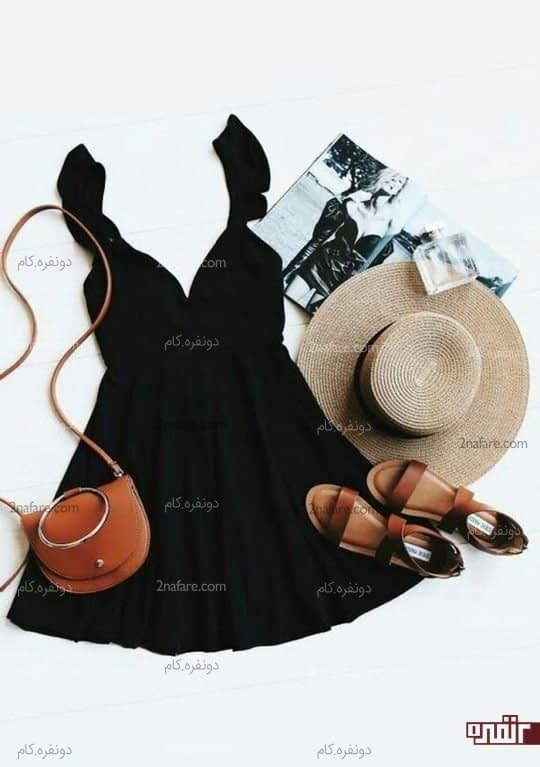 لباس مشکی و قهوه ای