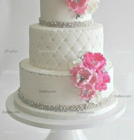 مدل زیبای کیک عروسی با تزیین فوندانت