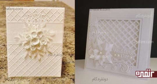 مدل های زیبای گل برجسته کارت عروسی سفید