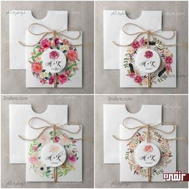 مدل های کارت عروسی گلدار و رنگی