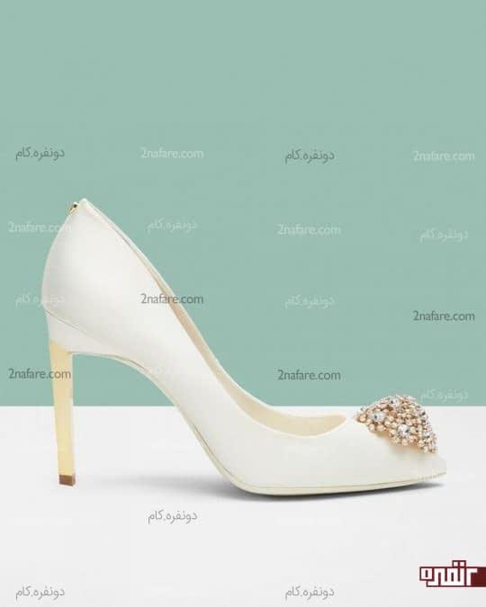 مدل پاشنه بلند کفش عروس با اکسسوری های جذاب