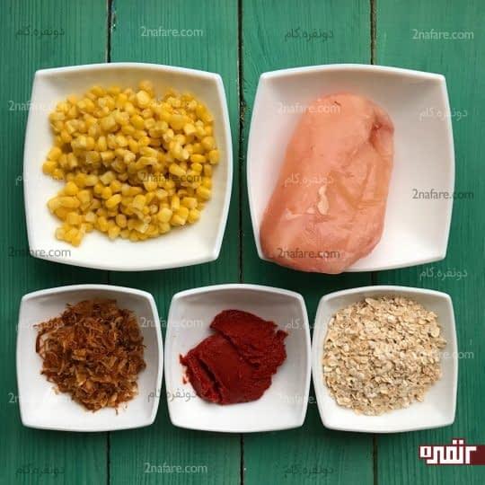 مواد لازم برای تهیه سوپ مرغ و ذرت
