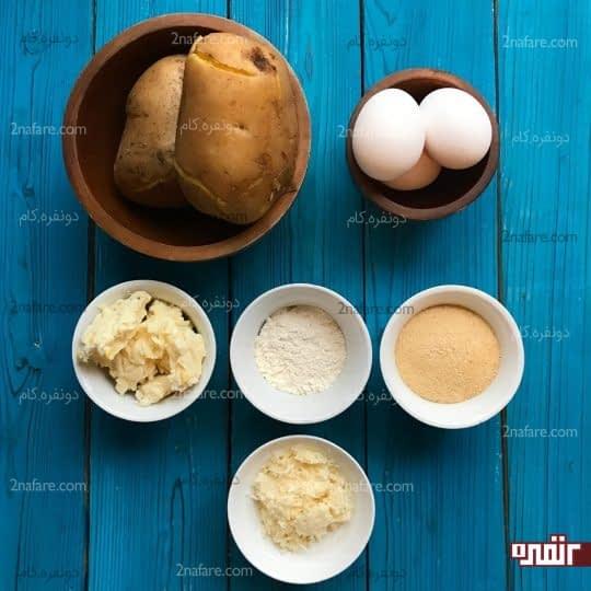 مواد لازم برای تهیه کراکت سیب زمینی