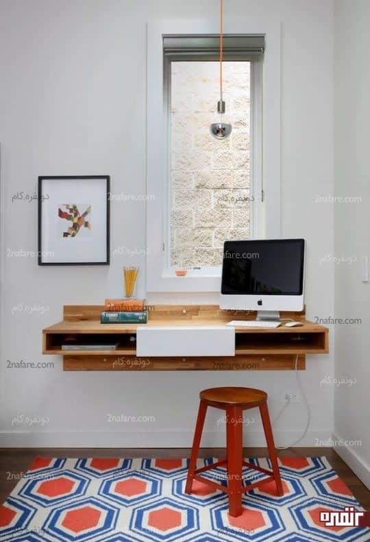 میز روی دیوار و استفاده از روشنایی پنجره