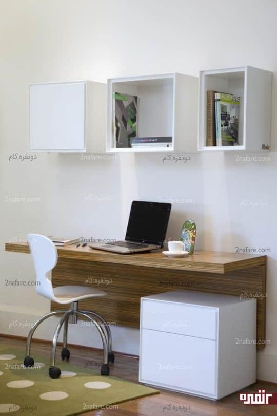 میز مطالعه ای به سبک مدرن و قفسه های باز