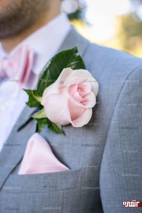 هارمونی زیبا بین دستمال جیب،پاپیون و گل یقه کت داماد