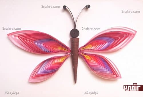 پروانه رنگی ملیله کاغذی