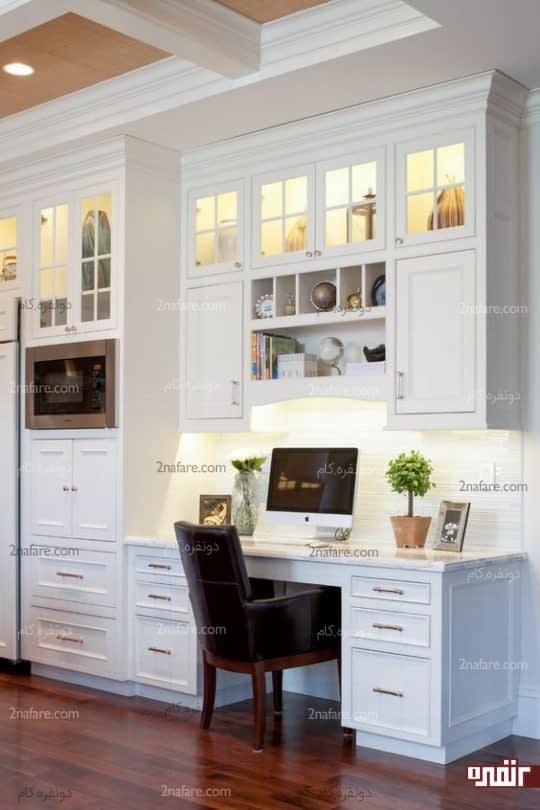 کابینت ها و میز کار به صورت یکپارچه در آشپزخانه