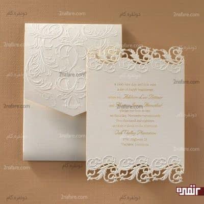 کارت زیبای عروسی به رنگ سفید