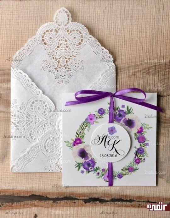 کارت عروسی با گلهای زیبا و بنفش