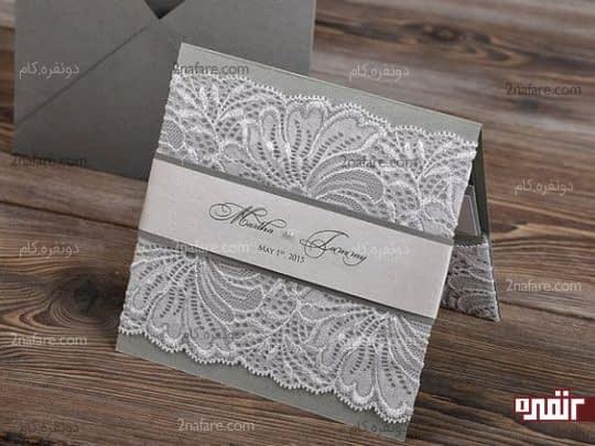 کارت عروسی خاکستری با تور سفید