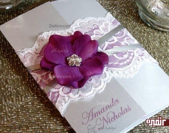 کارت عروسی خاکستری طرح برجسته
