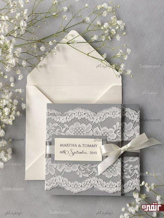 کارت عروسی خاکستری و زیبا
